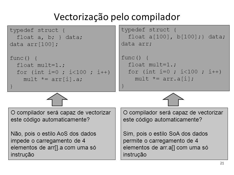 Vectorização pelo compilador 21 typedef struct { float a, b; } data; data arr[100]; func() { float mult=1.; for (int i=0 ; i<100 ; i++) mult *= arr[i]