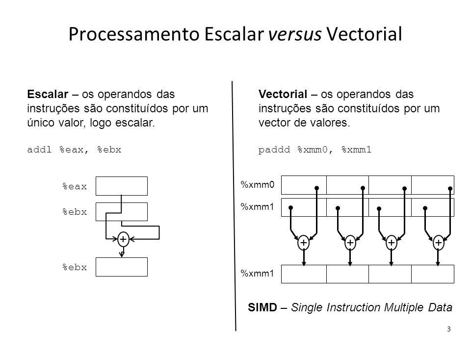 Processamento Escalar versus Vectorial 3 Escalar – os operandos das instruções são constituídos por um único valor, logo escalar. addl %eax, %ebx Vect