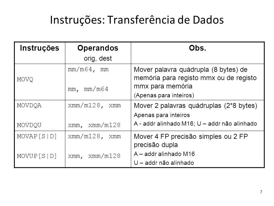 Instruções: Transferência de Dados 7 InstruçõesOperandos orig, dest Obs. MOVQ mm/m64, mm mm, mm/m64 Mover palavra quádrupla (8 bytes) de memória para