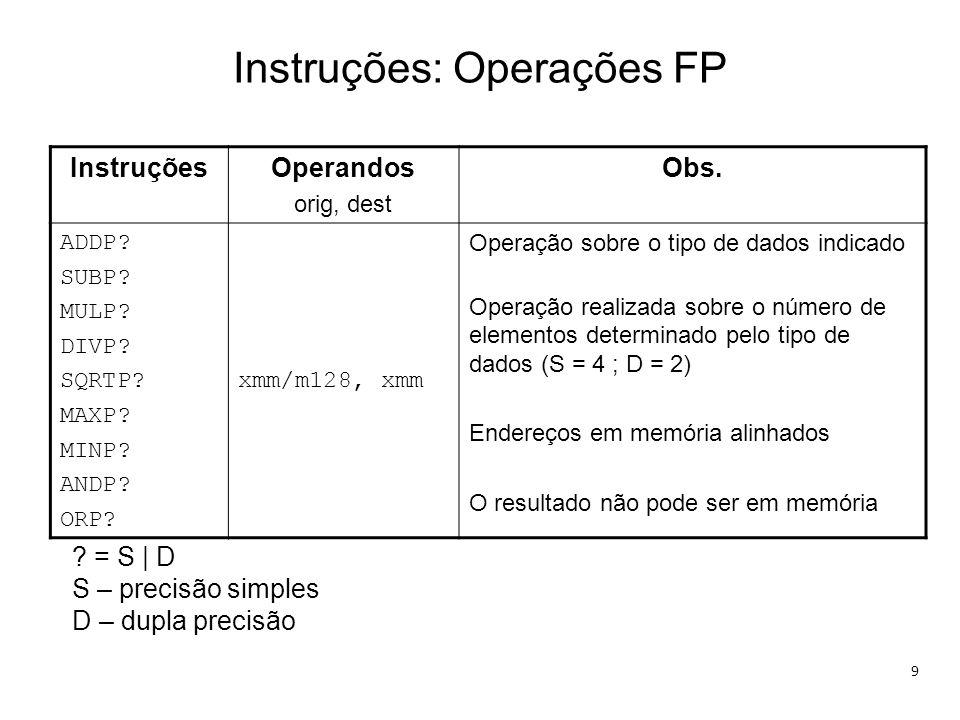 Instruções: Operações FP 9 InstruçõesOperandos orig, dest Obs. ADDP? SUBP? MULP? DIVP? SQRTP? MAXP? MINP? ANDP? ORP? xmm/m128, xmm Operação sobre o ti