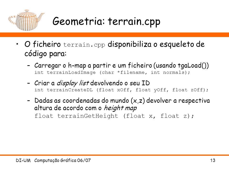 Geometria: terrain.cpp O ficheiro terrain.cpp disponibiliza o esqueleto de código para: –Carregar o h-map a partir e um ficheiro (usando tgaLoad()) in