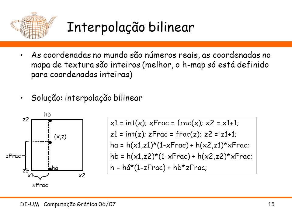 Interpolação bilinear As coordenadas no mundo são números reais, as coordenadas no mapa de textura são inteiros (melhor, o h-map só está definido para
