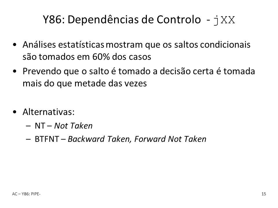 Y86: Dependências de Controlo - jXX Análises estatísticas mostram que os saltos condicionais são tomados em 60% dos casos Prevendo que o salto é tomad