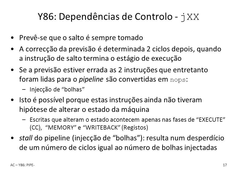 Y86: Dependências de Controlo - jXX Prevê-se que o salto é sempre tomado A correcção da previsão é determinada 2 ciclos depois, quando a instrução de