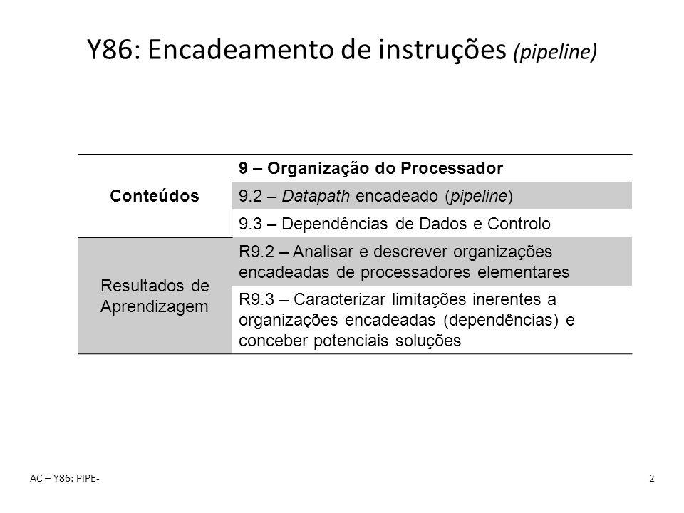 Y86: Encadeamento de instruções (pipeline) AC – Y86: PIPE-2 Conteúdos 9 – Organização do Processador 9.2 – Datapath encadeado (pipeline) 9.3 – Dependê