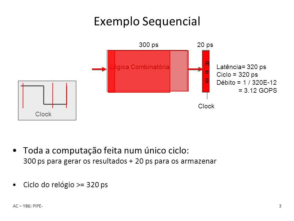 Clock Lógica Combinatória RegReg 300 ps20 ps Clock Latência= 320 ps Ciclo = 320 ps Débito = 1 / 320E-12 = 3.12 GOPS RegReg Exemplo Sequencial Toda a c