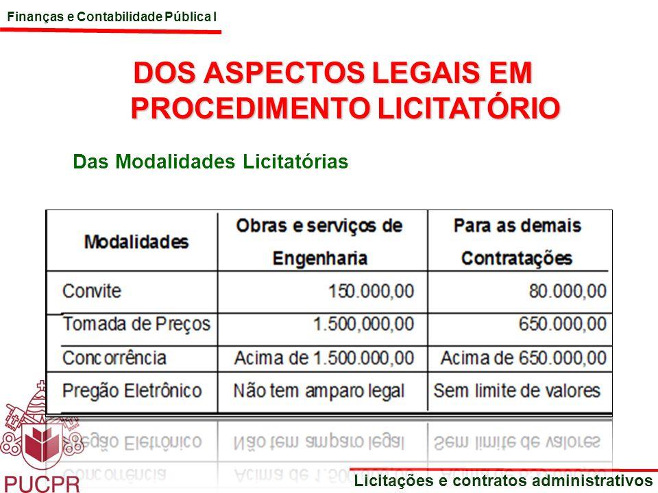 Finanças e Contabilidade Pública I Licitações e contratos administrativos DOS ASPECTOS LEGAIS EM PROCEDIMENTO LICITATÓRIO Das Modalidades Licitatórias