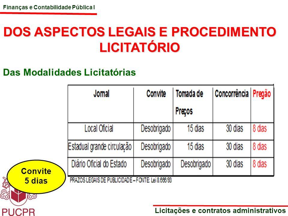Finanças e Contabilidade Pública I Licitações e contratos administrativos DOS ASPECTOS LEGAIS E PROCEDIMENTO LICITATÓRIO Das Modalidades Licitatórias