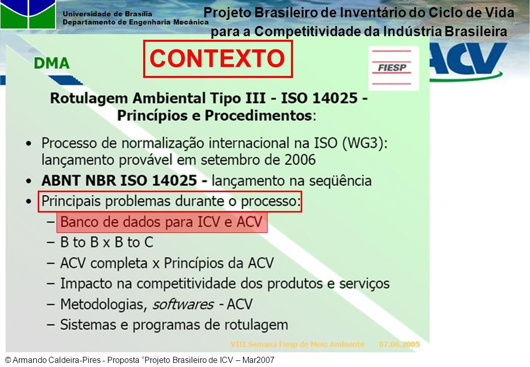 © Armando Caldeira-Pires - Proposta Projeto Brasileiro de ICV – Mar2007 Universidade de Brasília Departamento de Engenharia Mecânica CONTEXTO Projeto