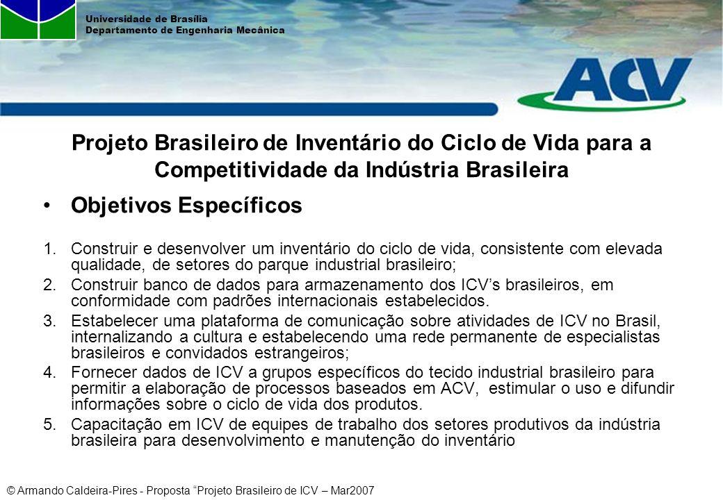 © Armando Caldeira-Pires - Proposta Projeto Brasileiro de ICV – Mar2007 Universidade de Brasília Departamento de Engenharia Mecânica Objetivos Específ