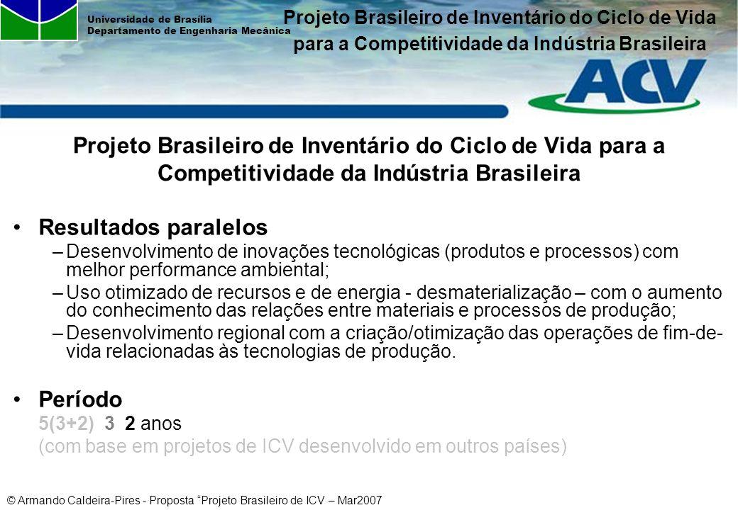 © Armando Caldeira-Pires - Proposta Projeto Brasileiro de ICV – Mar2007 Universidade de Brasília Departamento de Engenharia Mecânica Resultados parale