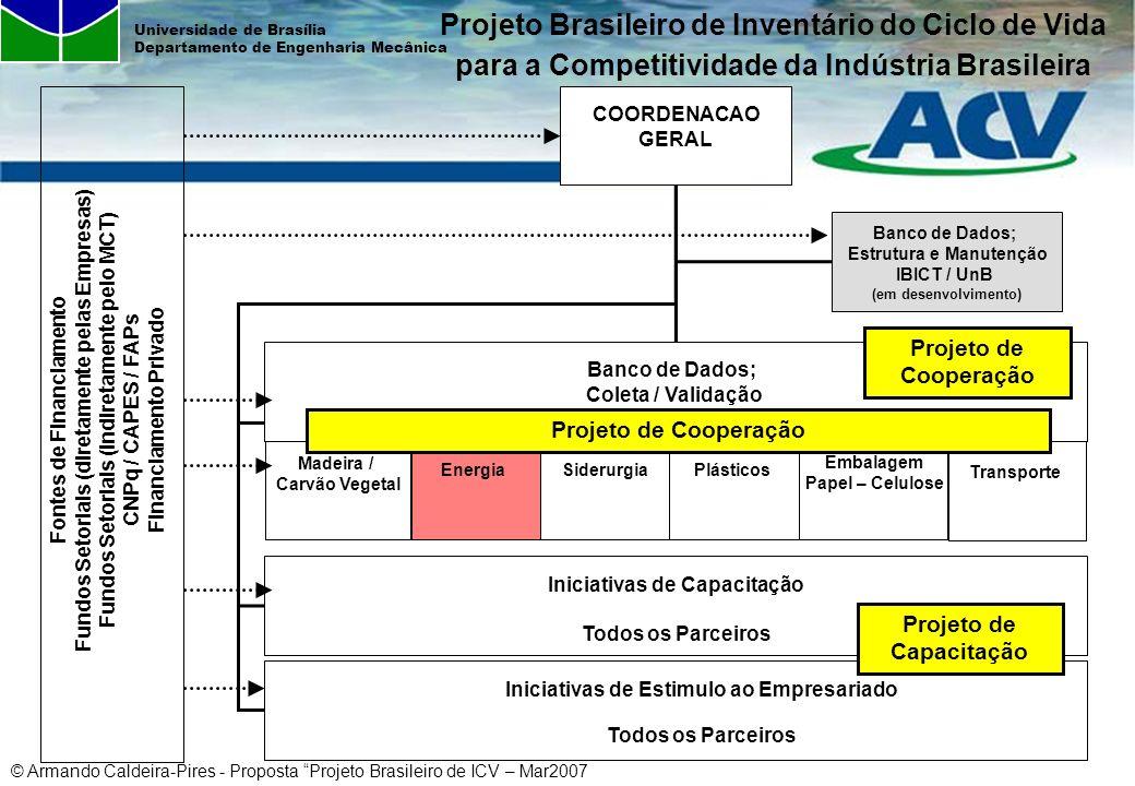© Armando Caldeira-Pires - Proposta Projeto Brasileiro de ICV – Mar2007 Universidade de Brasília Departamento de Engenharia Mecânica COORDENACAO GERAL