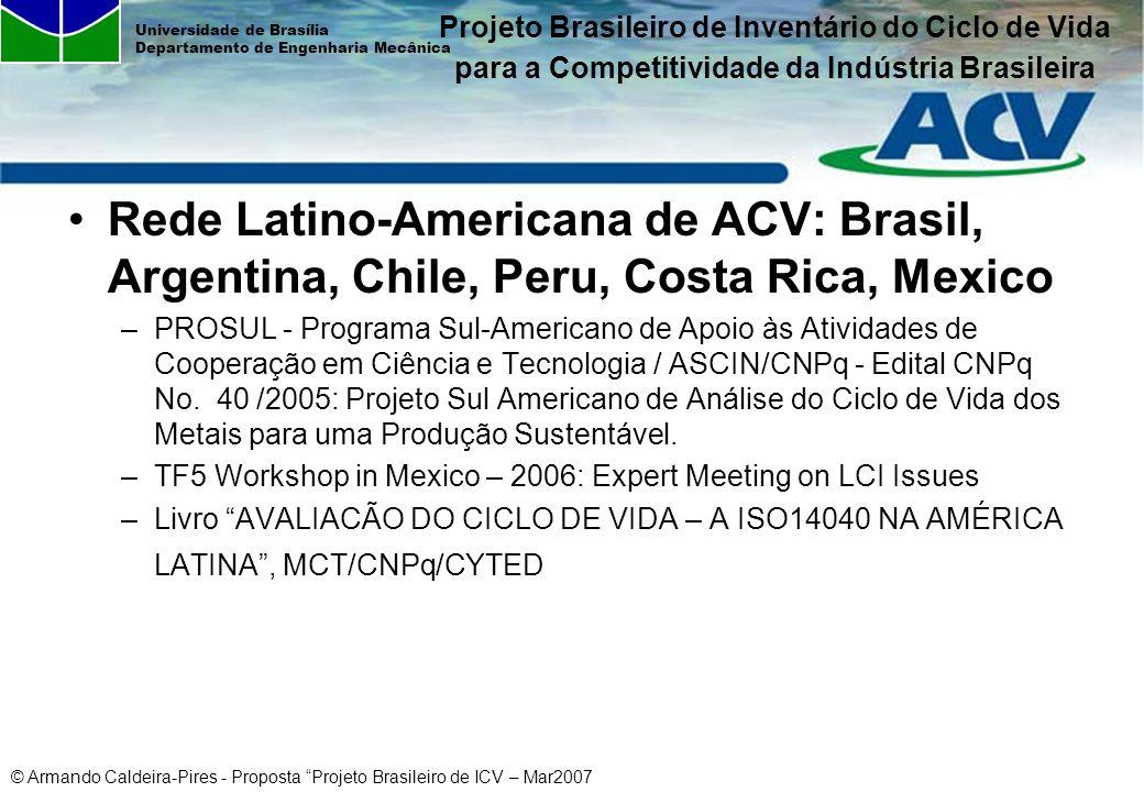 © Armando Caldeira-Pires - Proposta Projeto Brasileiro de ICV – Mar2007 Universidade de Brasília Departamento de Engenharia Mecânica Rede Latino-Ameri