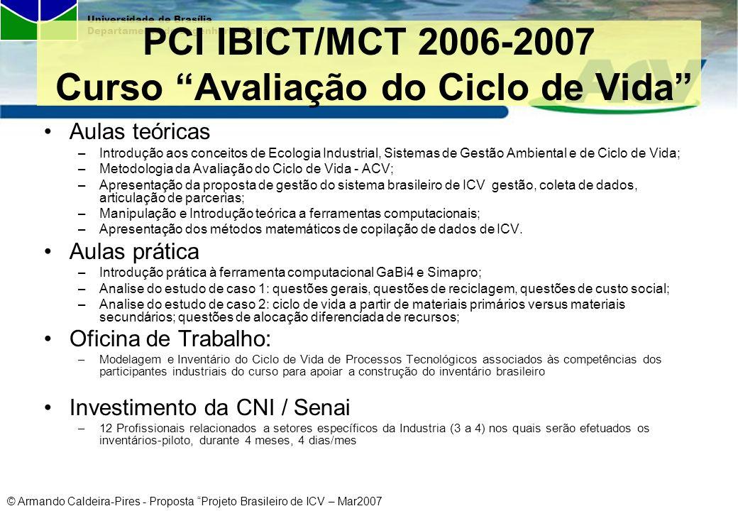 © Armando Caldeira-Pires - Proposta Projeto Brasileiro de ICV – Mar2007 Universidade de Brasília Departamento de Engenharia Mecânica PCI IBICT/MCT 200