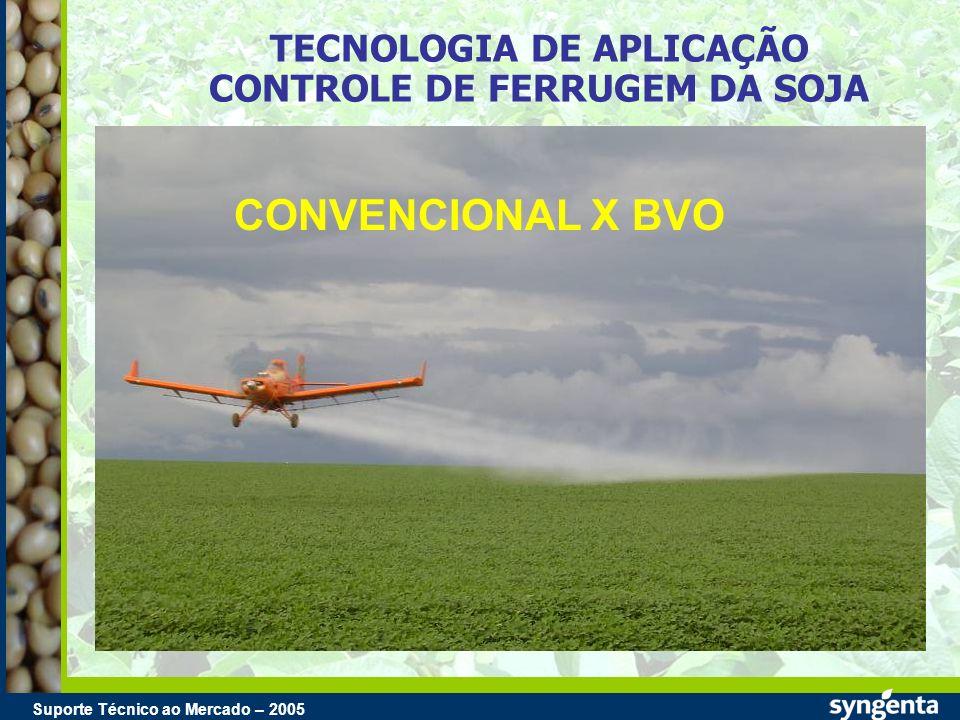 Suporte Técnico ao Mercado – 2004 Suporte Técnico ao Mercado – 2005 TECNOLOGIA DE APLICAÇÃO CONTROLE DE FERRUGEM DA SOJA CONVENCIONAL X BVO