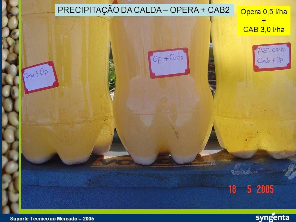 Suporte Técnico ao Mercado – 2004 Suporte Técnico ao Mercado – 2005 PRECIPITAÇÃO DA CALDA – OPERA + CAB2 Ópera 0,5 l/ha + CAB 3,0 l/ha