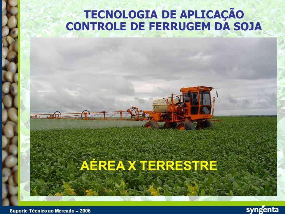 Suporte Técnico ao Mercado – 2004 Suporte Técnico ao Mercado – 2005 TECNOLOGIA DE APLICAÇÃO CONTROLE DE FERRUGEM DA SOJA AÉREA X TERRESTRE