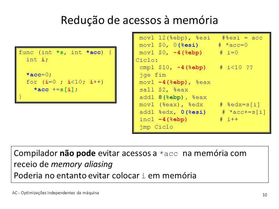 Redução de acessos à memória 10 AC - Optimizações independentes da máquina func (int *s, int *acc) { int i; *acc=0; for (i=0 ; i<10; i++) *acc +=s[i]; } movl 12(%ebp), %esi #%esi = acc movl $0, 0(%esi) # *acc=0 movl $0, -4(%ebp)# i=0 Ciclo: cmpl $10, -4(%ebp)# i<10 ?.