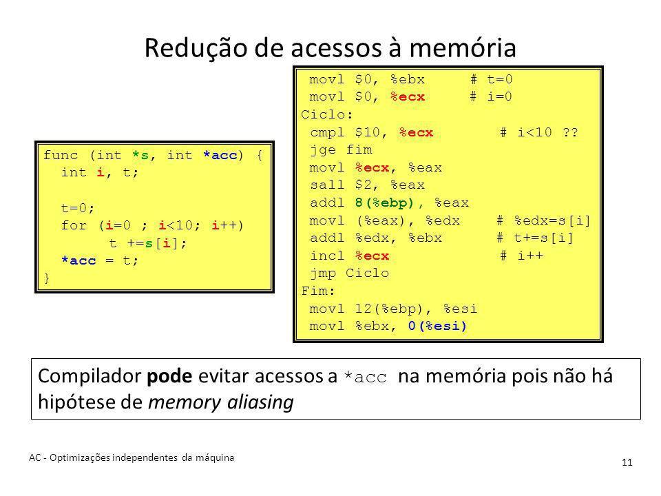 Redução de acessos à memória 11 movl $0, %ebx # t=0 movl $0, %ecx # i=0 Ciclo: cmpl $10, %ecx# i<10 ?.