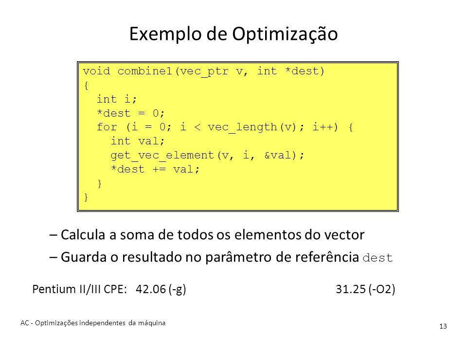 Exemplo de Optimização 13 –Calcula a soma de todos os elementos do vector –Guarda o resultado no parâmetro de referência dest Pentium II/III CPE: 42.06 (-g)31.25 (-O2) void combine1(vec_ptr v, int *dest) { int i; *dest = 0; for (i = 0; i < vec_length(v); i++) { int val; get_vec_element(v, i, &val); *dest += val; } AC - Optimizações independentes da máquina