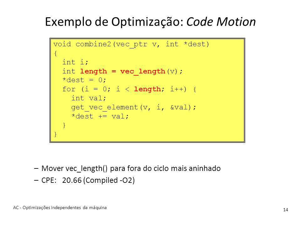 Exemplo de Optimização: Code Motion 14 –Mover vec_length() para fora do ciclo mais aninhado –CPE: 20.66 (Compiled -O2) void combine2(vec_ptr v, int *dest) { int i; int length = vec_length(v); *dest = 0; for (i = 0; i < length; i++) { int val; get_vec_element(v, i, &val); *dest += val; } AC - Optimizações independentes da máquina