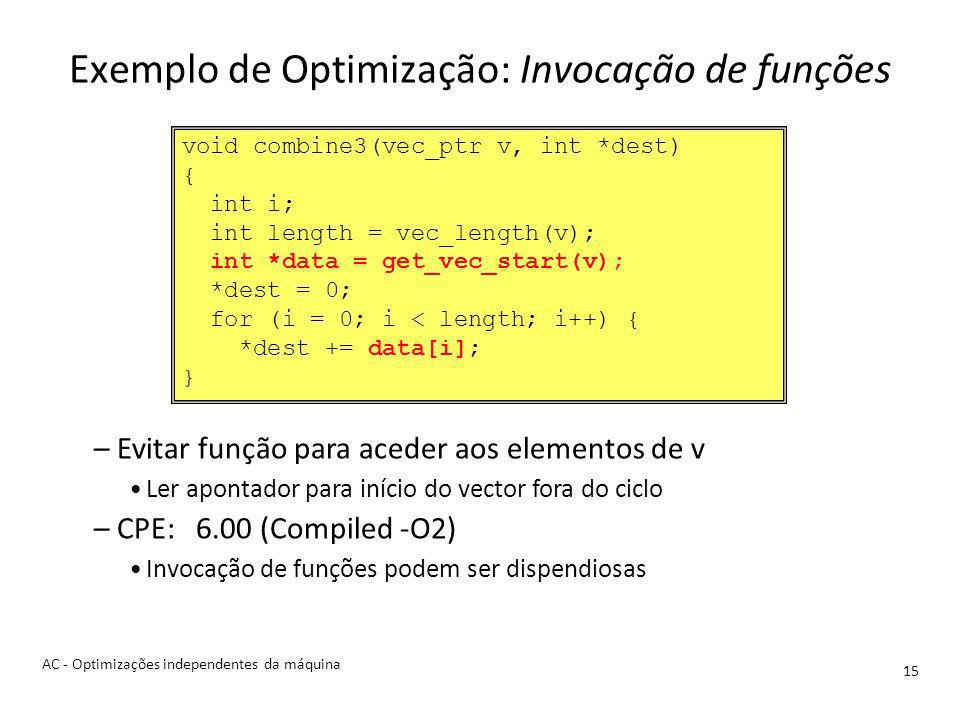 Exemplo de Optimização: Invocação de funções 15 –Evitar função para aceder aos elementos de v Ler apontador para início do vector fora do ciclo –CPE: 6.00 (Compiled -O2) Invocação de funções podem ser dispendiosas void combine3(vec_ptr v, int *dest) { int i; int length = vec_length(v); int *data = get_vec_start(v); *dest = 0; for (i = 0; i < length; i++) { *dest += data[i]; } AC - Optimizações independentes da máquina