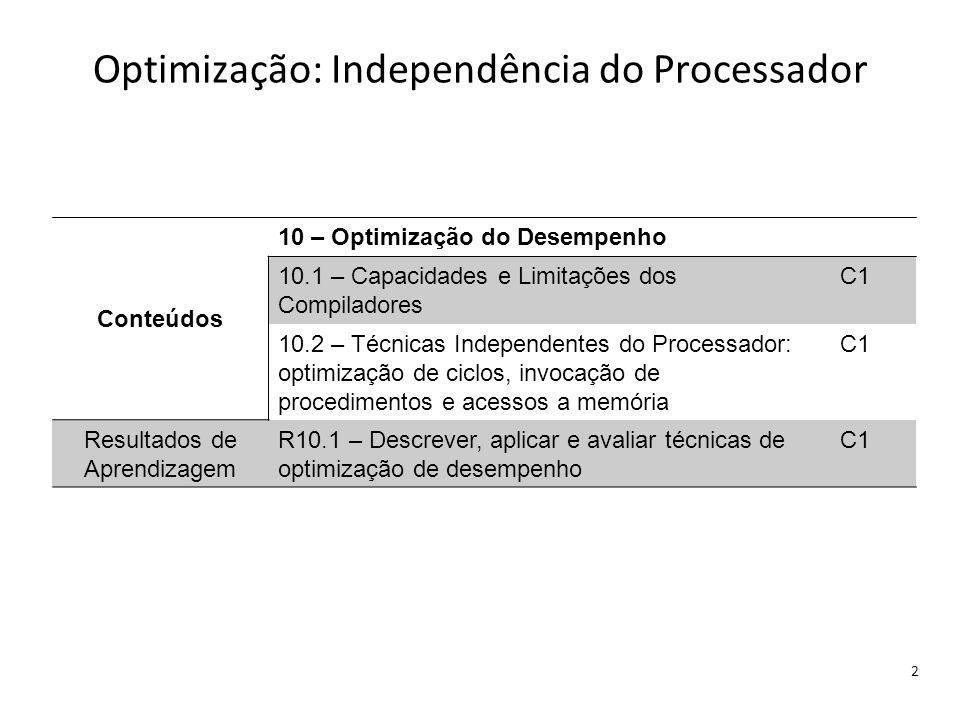 Optimização: Independência do Processador 2 Conteúdos 10 – Optimização do Desempenho 10.1 – Capacidades e Limitações dos Compiladores C1 10.2 – Técnicas Independentes do Processador: optimização de ciclos, invocação de procedimentos e acessos a memória C1 Resultados de Aprendizagem R10.1 – Descrever, aplicar e avaliar técnicas de optimização de desempenho C1