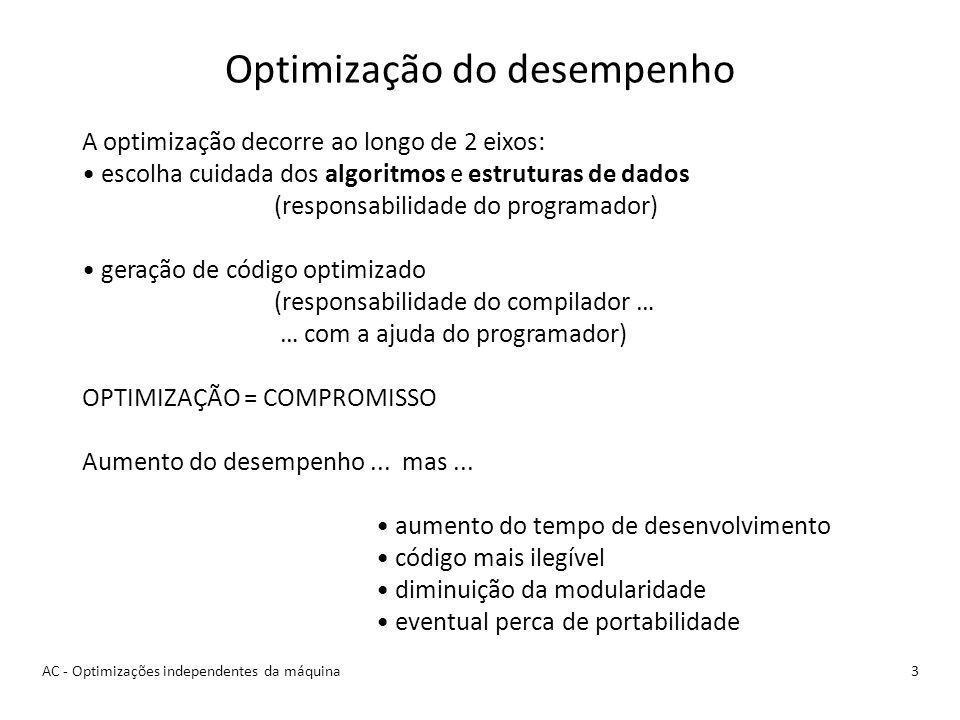 AC - Optimizações independentes da máquina3 Optimização do desempenho A optimização decorre ao longo de 2 eixos: escolha cuidada dos algoritmos e estruturas de dados (responsabilidade do programador) geração de código optimizado (responsabilidade do compilador … … com a ajuda do programador) OPTIMIZAÇÃO = COMPROMISSO Aumento do desempenho...