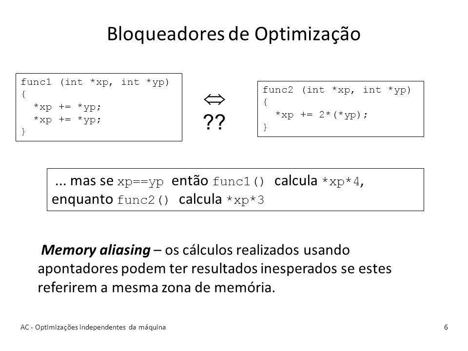 Bloqueadores de Optimização 6 Memory aliasing – os cálculos realizados usando apontadores podem ter resultados inesperados se estes referirem a mesma zona de memória.