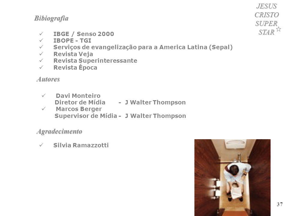 37 JESUS CRISTO SUPER STAR Bibiografia IBGE / Senso 2000 IBOPE - TGI Serviços de evangelização para a America Latina (Sepal) Revista Veja Revista Supe