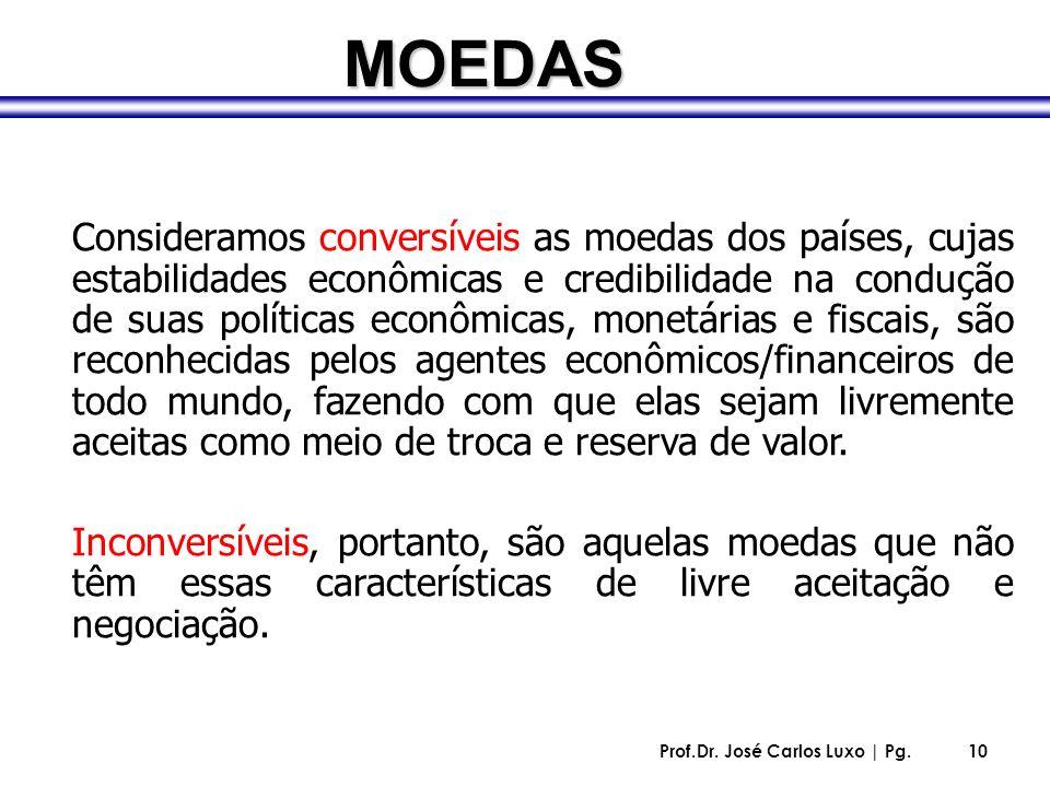 Prof.Dr. José Carlos Luxo | Pg.10 Consideramos conversíveis as moedas dos países, cujas estabilidades econômicas e credibilidade na condução de suas p