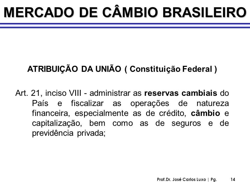 Prof.Dr. José Carlos Luxo | Pg.14 MERCADO DE CÂMBIO BRASILEIRO ATRIBUIÇÃO DA UNIÃO ( Constituição Federal ) Art. 21, inciso VIII - administrar as rese