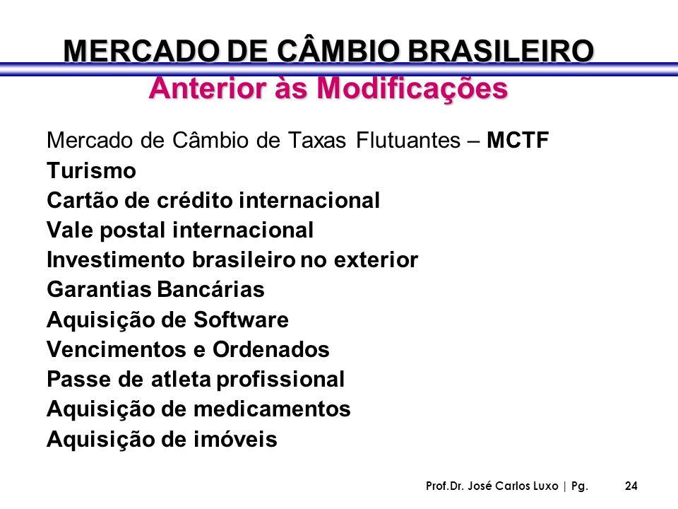 Prof.Dr. José Carlos Luxo | Pg.24 MERCADO DE CÂMBIO BRASILEIRO Anterior às Modificações Mercado de Câmbio de Taxas Flutuantes – MCTF Turismo Cartão de