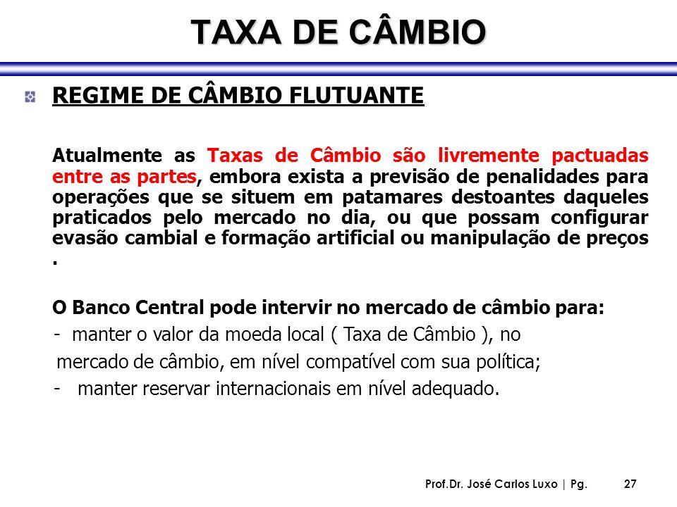 Prof.Dr. José Carlos Luxo | Pg.27 TAXA DE CÂMBIO REGIME DE CÂMBIO FLUTUANTE Atualmente as Taxas de Câmbio são livremente pactuadas entre as partes, em