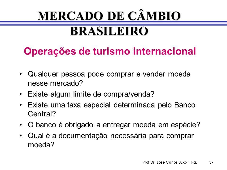 Prof.Dr. José Carlos Luxo | Pg.37 Operações de turismo internacional Qualquer pessoa pode comprar e vender moeda nesse mercado? Existe algum limite de