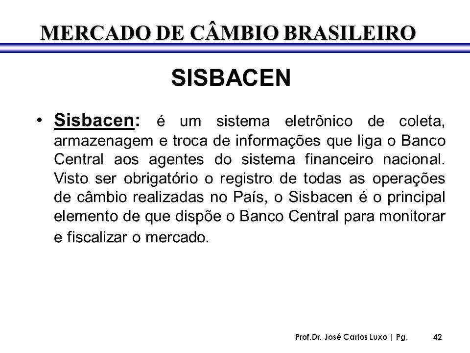 Prof.Dr. José Carlos Luxo | Pg.42 SISBACEN Sisbacen: é um sistema eletrônico de coleta, armazenagem e troca de informações que liga o Banco Central ao