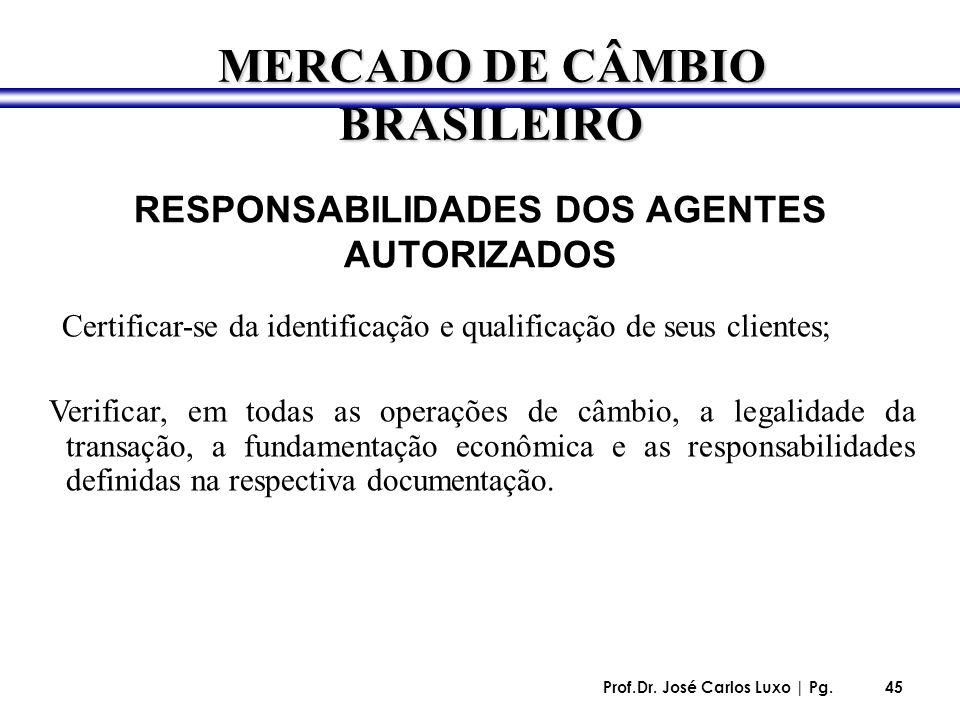 Prof.Dr. José Carlos Luxo | Pg.45 RESPONSABILIDADES DOS AGENTES AUTORIZADOS Certificar-se da identificação e qualificação de seus clientes; Verificar,
