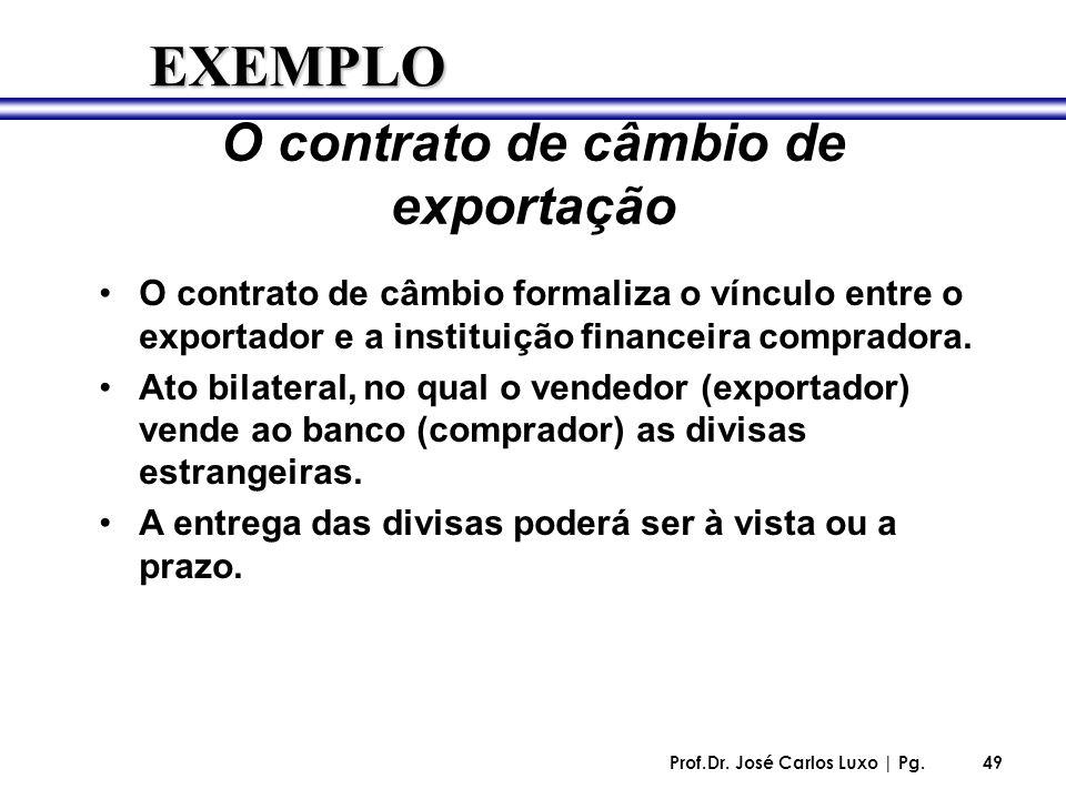 Prof.Dr. José Carlos Luxo | Pg.49 O contrato de câmbio de exportação O contrato de câmbio formaliza o vínculo entre o exportador e a instituição finan