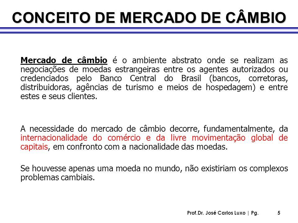 Prof.Dr. José Carlos Luxo | Pg.5 CONCEITO DE MERCADO DE CÂMBIO Mercado de câmbio é o ambiente abstrato onde se realizam as negociações de moedas estra
