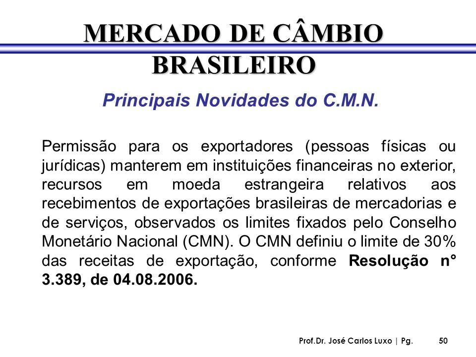 Prof.Dr. José Carlos Luxo | Pg.50 Principais Novidades do C.M.N. Permissão para os exportadores (pessoas físicas ou jurídicas) manterem em instituiçõe