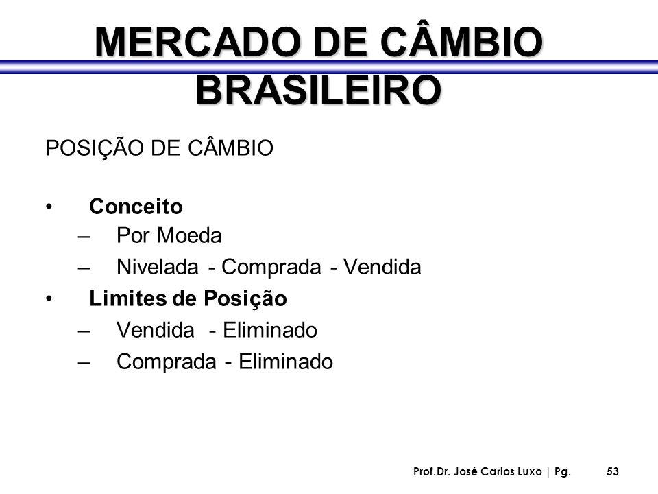Prof.Dr. José Carlos Luxo | Pg.53 MERCADO DE CÂMBIO BRASILEIRO POSIÇÃO DE CÂMBIO Conceito –Por Moeda –Nivelada - Comprada - Vendida Limites de Posição