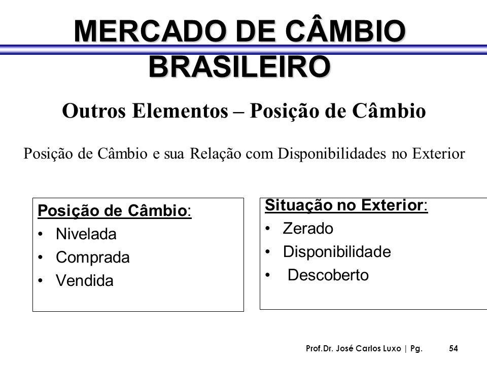 Prof.Dr. José Carlos Luxo | Pg.54 MERCADO DE CÂMBIO BRASILEIRO Posição de Câmbio: Nivelada Comprada Vendida Situação no Exterior: Zerado Disponibilida