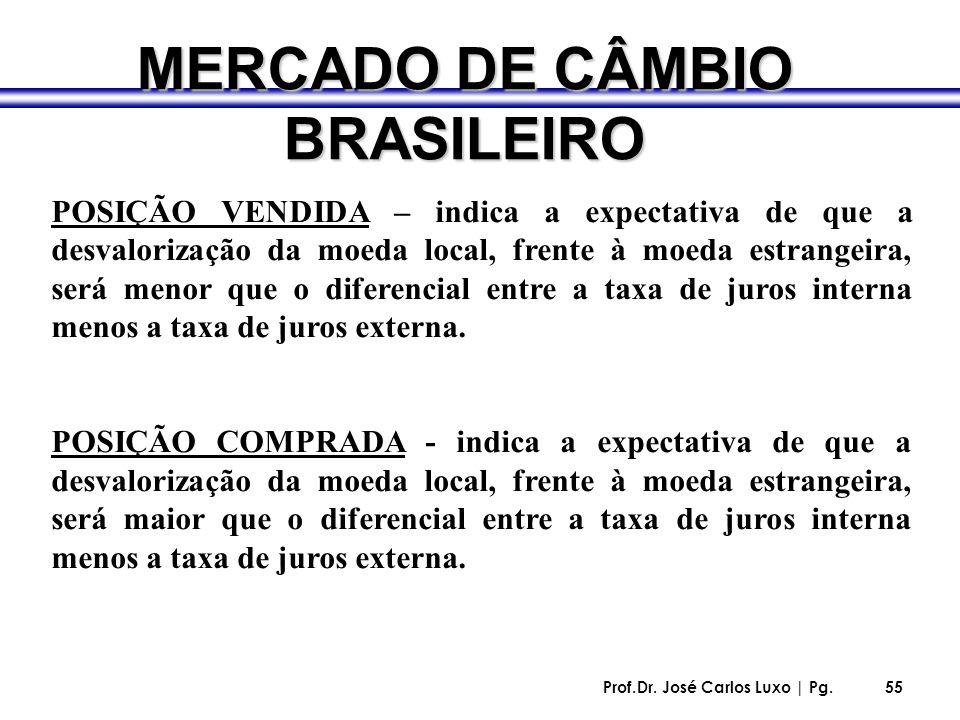Prof.Dr. José Carlos Luxo | Pg.55 MERCADO DE CÂMBIO BRASILEIRO POSIÇÃO VENDIDA – indica a expectativa de que a desvalorização da moeda local, frente à