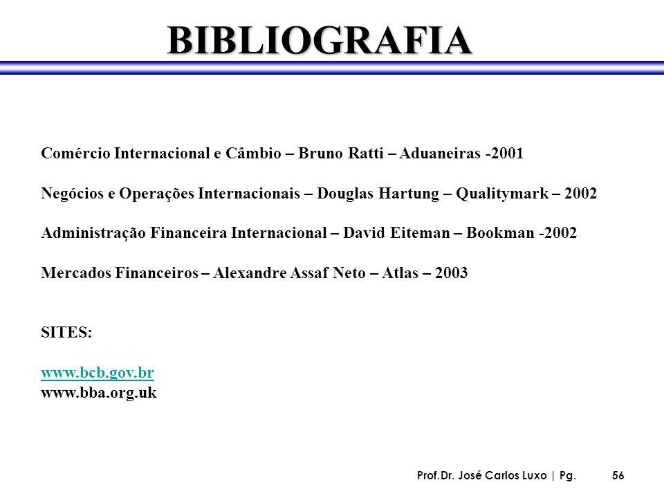 Prof.Dr. José Carlos Luxo | Pg.56 BIBLIOGRAFIA Comércio Internacional e Câmbio – Bruno Ratti – Aduaneiras -2001 Negócios e Operações Internacionais –