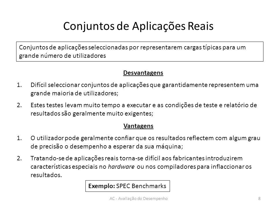 Conjuntos de Aplicações Reais AC - Avaliação do Desempenho8 Conjuntos de aplicações seleccionadas por representarem cargas típicas para um grande núme