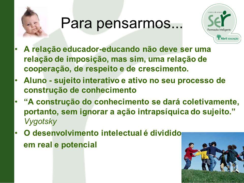 Para pensarmos... A relação educador-educando não deve ser uma relação de imposição, mas sim, uma relação de cooperação, de respeito e de crescimento.