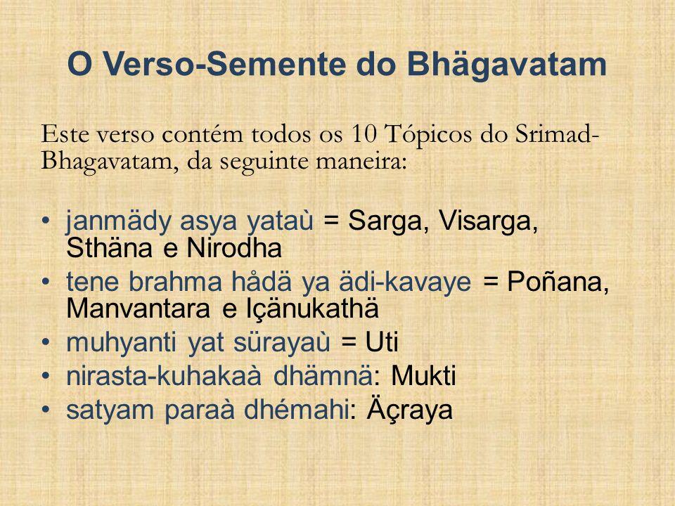 O Verso-Semente do Bhägavatam Este verso contém todos os 10 Tópicos do Srimad- Bhagavatam, da seguinte maneira: janmädy asya yataù = Sarga, Visarga, S