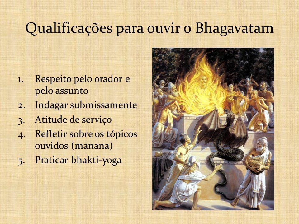 Qualificações para ouvir o Bhagavatam 1.Respeito pelo orador e pelo assunto 2.Indagar submissamente 3.Atitude de serviço 4.Refletir sobre os tópicos o
