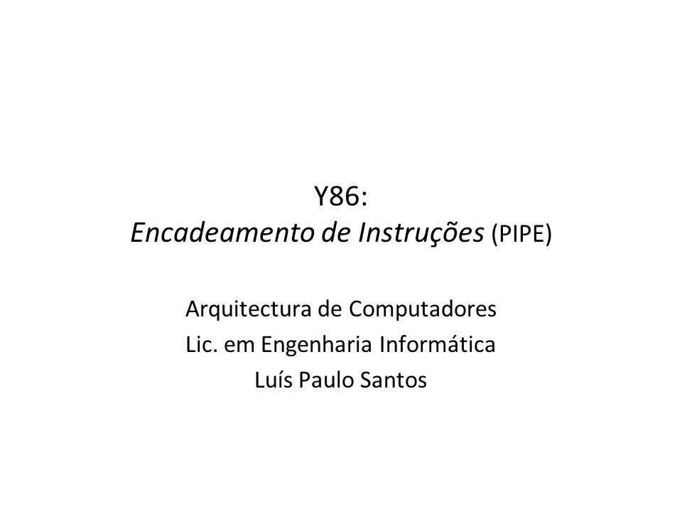 Y86: Encadeamento de Instruções (PIPE) Arquitectura de Computadores Lic. em Engenharia Informática Luís Paulo Santos