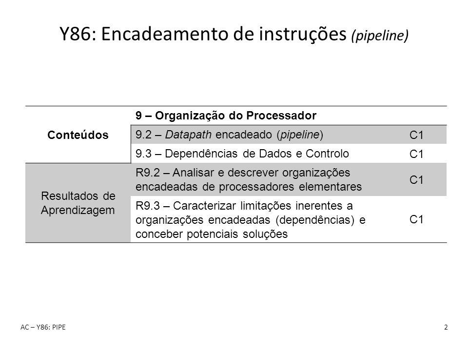 Y86: Encadeamento de instruções (pipeline) AC – Y86: PIPE2 Conteúdos 9 – Organização do Processador 9.2 – Datapath encadeado (pipeline) C1 9.3 – Depen